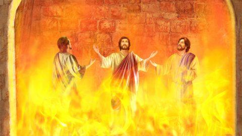 三人の聖なるものが火窯に入った