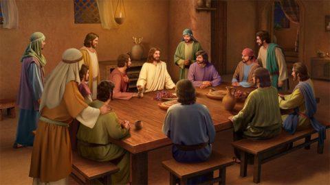 復活後にパンを食べ、聖句を説明するイエス