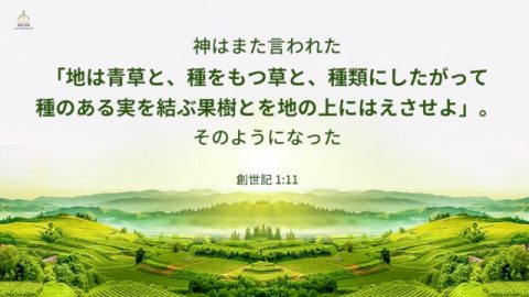 第三の日、神の言葉により地と海が生まれ、神の権威により、世界が生物で満たされた