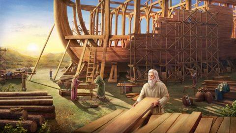 神が世界を洪水で滅ぼそうと考え、ノアに箱舟を作るように命じる