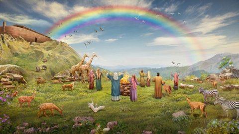 神と人間との契約のしるしとして虹を作る