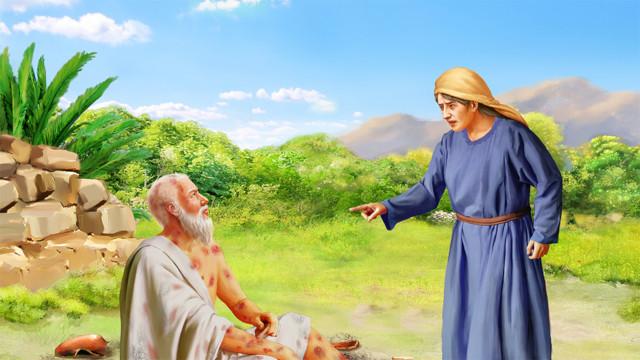 サタンがもう一度ヨブを攻撃する,ヨブが皮膚病にかかる,ヨブを最初に攻撃したのは彼の妻であった