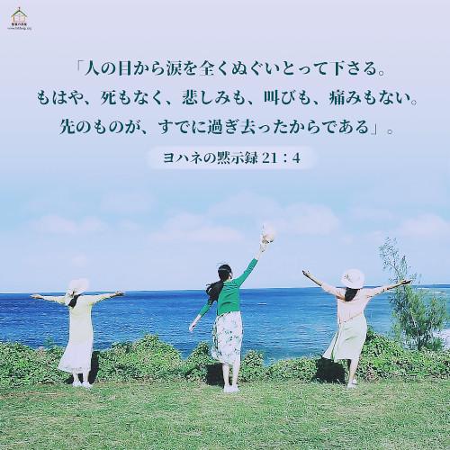 聖句カード,ヨハネの黙示録,人の目から涙を全くぬぐいとって下さる